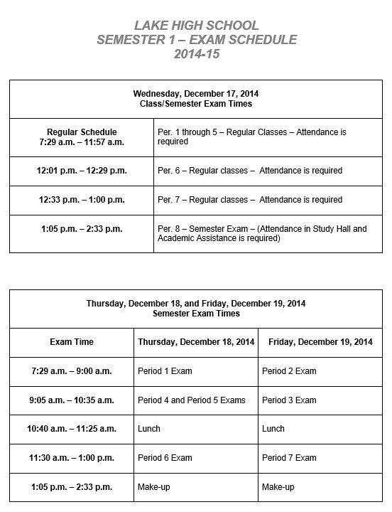 2014-2015 First Semester Exam Schedule.JPG